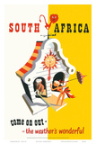 South Africa: Come on Out - The Weather is Wonderful, c.1940s Posters af Bernard Sargent