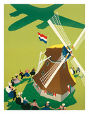 KLM Royal Dutch Airlines: Holland Windmill, c.1945 Giclee Print by Paul Brillens