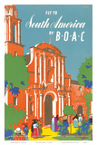 British Overseas Airways Corporation: Fly to South America by BOAC, c.1950s Prints by E.O. Seymour
