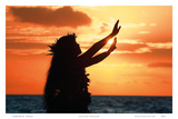 To Ask a Blessing: Hawaiian Hula Dancer at Sunset Prints by Randy Jay Braun