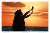 To Ask a Blessing: Hawaiian Hula Dancer at Sunset Prints by Randy Jay Braun