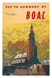 British Overseas Airways Corporation: Fly to Germany by BOAC, c.1950s Plakater af Frank Wootton