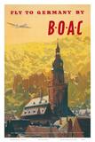 British Overseas Airways Corporation: Fly to Germany by BOAC, c.1950s Kunstdrucke von Frank Wootton