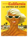 Fly United Air Lines: Southern California, c.1955 Poster par Stan Galli