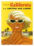 Fly United Air Lines: Southern California, c.1955 Kunstdruck von Stan Galli