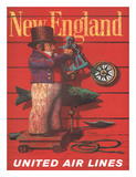 United Air Lines: New England, c.1955 Lmina gicle por Stan Galli
