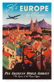 Pan American: Fly to Europe by Clipper, c.1940s Poster by M. Von Arenburg