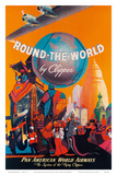 Pan American: Round the World by Clipper, c.1949 Poster by M. Von Arenburg