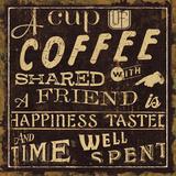 Koffie citaten I, Engelse tekst Print van  Pela