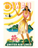 United Air Lines: Hawaii - Only Hours Away, c.1950s Giclée-tryk