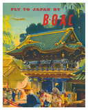 British Overseas Airways Corporation: Fly to Japan by BOAC, c.1950s Giclee Print by Frank Wootton