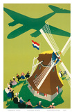 KLM Royal Dutch Airlines: Holland Windmill, c.1945 Art by Paul Brillens