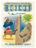 Pan American: Beirut - Lebanon by Clipper c.1950s Prints