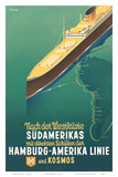 Hamburg America Line: HAPAG Nach der Westküste Südamerikas, c.1930s Posters by Ottomar Anton