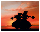 Hula Sisters: Hawaiian Hula Dancers at Sunset Giclée-tryk af Randy Jay Braun