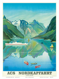 HAPAG Cruise Line: Nordkapfahrt - North Cape and Norwegian Fjords, c.1957 Poster