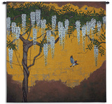 Wisteria with House Finch Wall Tapestry by  Unknown