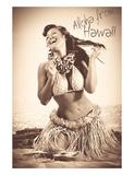 Polka Dot Wahine: Hawaiian Hula Girl Giclée-tryk af Celeste Manderville