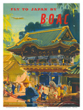 British Overseas Airways Corporation: Fly to Japan by BOAC, c.1950s Prints by Frank Wootton