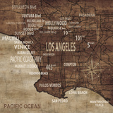 Map of Los Angeles Posters par Luke Wilson