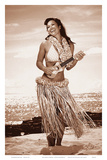 Wahine with Ukulele: Hawaiian Hula Girl Posters by Celeste Manderville