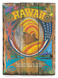 United Air Lines: Hawaii - Wood Panel Sign, c.1960s Prints