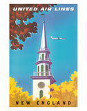 United Air Lines: New England, c.1950s Giclee Print by Joseph Binder