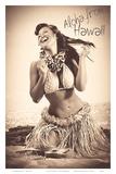Polka Dot Wahine: Hawaiian Hula Girl Print by Celeste Manderville