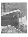 RMS Titanic Striking Iceberg. Photographic Print