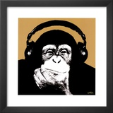 Headphone Monkey Print by Steez