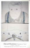 Self Portrait in Bathroom Mirror with Sink, NY Collectable Print by David Hockney