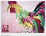 Cock in Pink and Green Schilderij van Walasse Ting