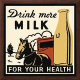Drink More Milk for Your Health Framed Giclee Print