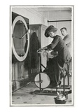A Photograph of Passengers Using 'Cycle Racing Machines' in the Gymnasium. Photographic Print
