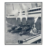 Illustrations of the Olympic in New York Harbour, Surrounded by Tugs. Photographic Print
