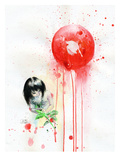 Red Sun Print by Lora Zombie
