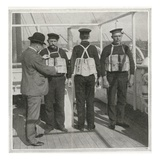 Examining Lifebelts on Titanic Photographic Print