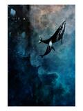 Flying Whales Giclee-tryk i høj kvalitet af Alex Cherry