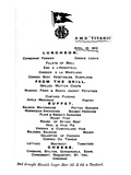 Luncheon Menu for April 14Th, 1912 from the 2nd Class Restaurant Aboard White Star Liner. Photographic Print