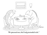 """We spawned once, but I only pretended to die."" - New Yorker Cartoon Premium Giclee Print by Karen Sneider"
