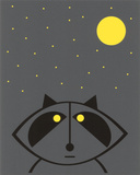 Raccoon (Glow in the Dark) Serigrafi af Hero Design