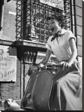 Audrey Hepburn-Vespa Stretched Canvas Print