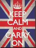 Keep Calm and Carry On-Union Jack Stretched Canvas Print