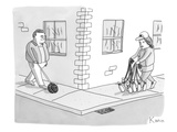A man with a bowling ball on a leash and a woman with bowling pins on a l… - New Yorker Cartoon Premium Giclee Print by Zachary Kanin