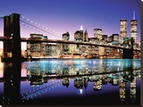 Brooklyn Bridge-Colour Stretched Canvas Print