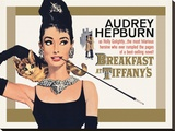 Audrey Hepburn-Breakfast at Tiffany\'s Gold One-Sheet Reproduction transférée sur toile