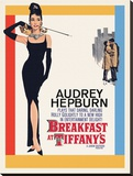 Audrey Hepburn -Breakfast at Tiffanys One Sheet Reproduction transférée sur toile
