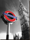 Big Ben & Underground Sign Stretched Canvas Print