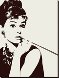 Audrey Hepburn - Cigarello : portrait Reproduction transf&#233;r&#233;e sur toile