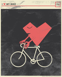I Heart My Bike Serigraph by  Hero Design